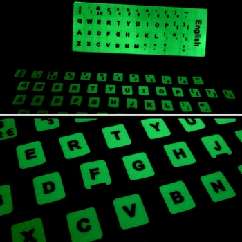 Luminous Waterproof Keyboard Stickers Fluorescent Keyboard Stickers Protective Film Layout with Button Letters for English key