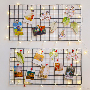 Iron Grid Art Photo Wall Metal Wire Board Mesh Panel Photo Displaying Frame Home Wall Decor Party Metal Shelf Postcards DIY Rack