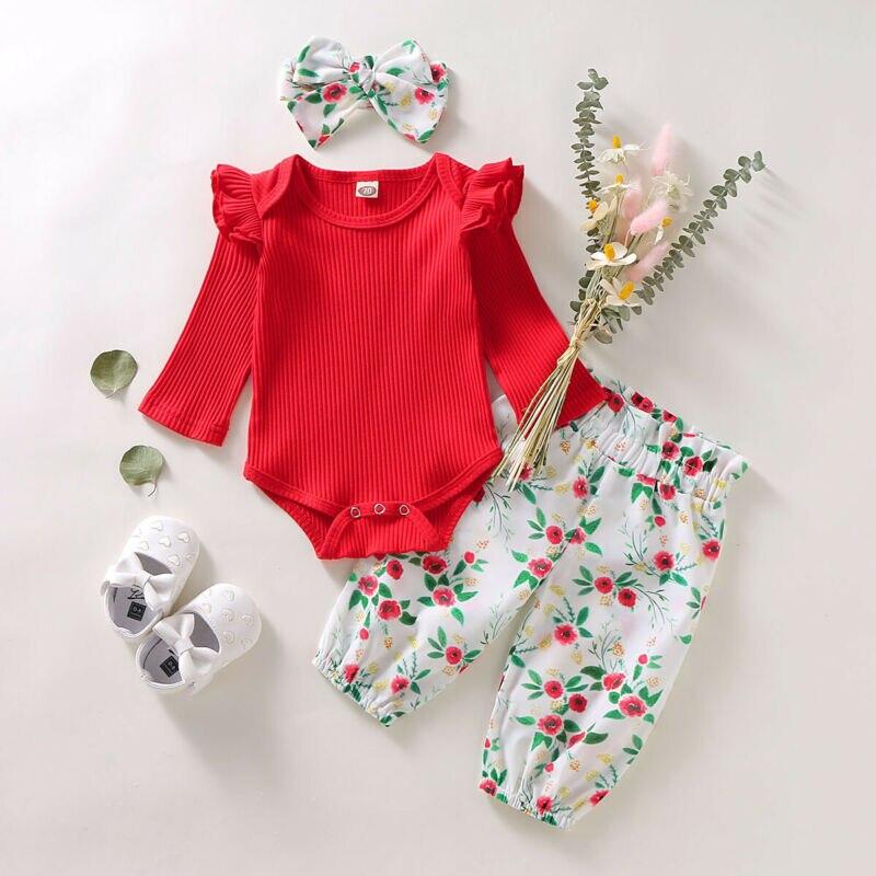 UNS Herbst Kleidung Infant Kind Baby Mädchen Kleidung Gestrickte Tops Strampler Floral Hosen 3PCS Outfit Set 0-18 monate