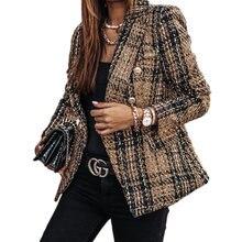 Женский блейзер в клетку модный офисный костюм облегающий Двубортный