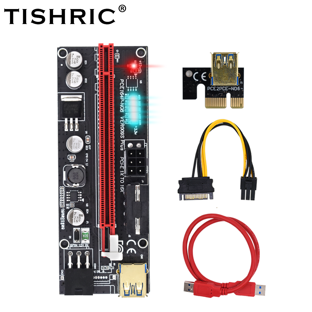 10pcs TISHRIC PCI-E Riser 009s Card PCIE PCI E Express USB 3.0 SATA to 6pin Adapter Cable Mining Riser For Video Card