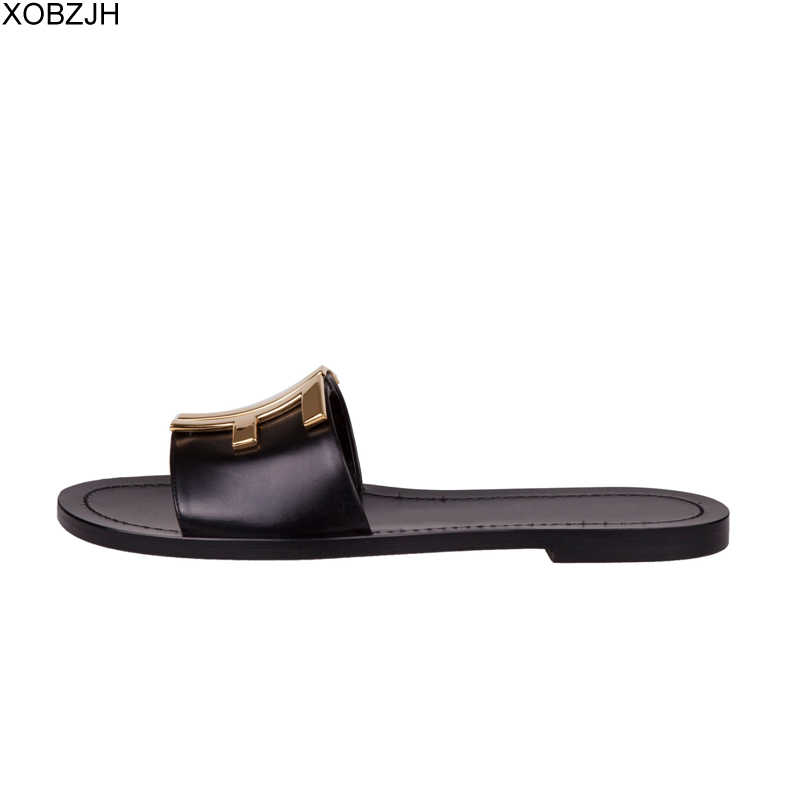 Wanita Flat Musim Panas Hitam Sandal Sepatu Sandal Wanita Mewah 2019 Logo Sandal Kulit Asli Sandal Sepatu Wanita