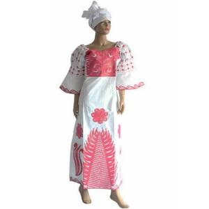 Image 5 - MD African Traditional Dress Women Bazin Riche Ankara Maxi Dresses Nigerian Wedding Embroidery Dashiki Dress With Headtie Turban