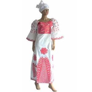 Image 5 - MD Châu Phi Truyền Thống Đầm Nữ Bazin Riche Ankara Đầm Maxi Nigeria Thêu Đám Cưới Dashiki Đầm Headtie Băng Đô Cài Tóc Turban Gọng
