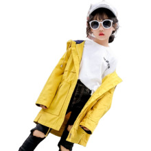 2019 Cute Kids Girls Hooded Long Trench 4-16 Year Old Cotton Solid Color Coat Winter and Autumn Windbreaker 2