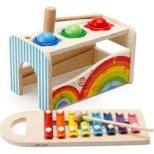Два в одном детский деревянный ксилофон нокаут игровой набор детский игрушечный ксилофон музыкальный инструмент деревянные игрушки для детей подарок
