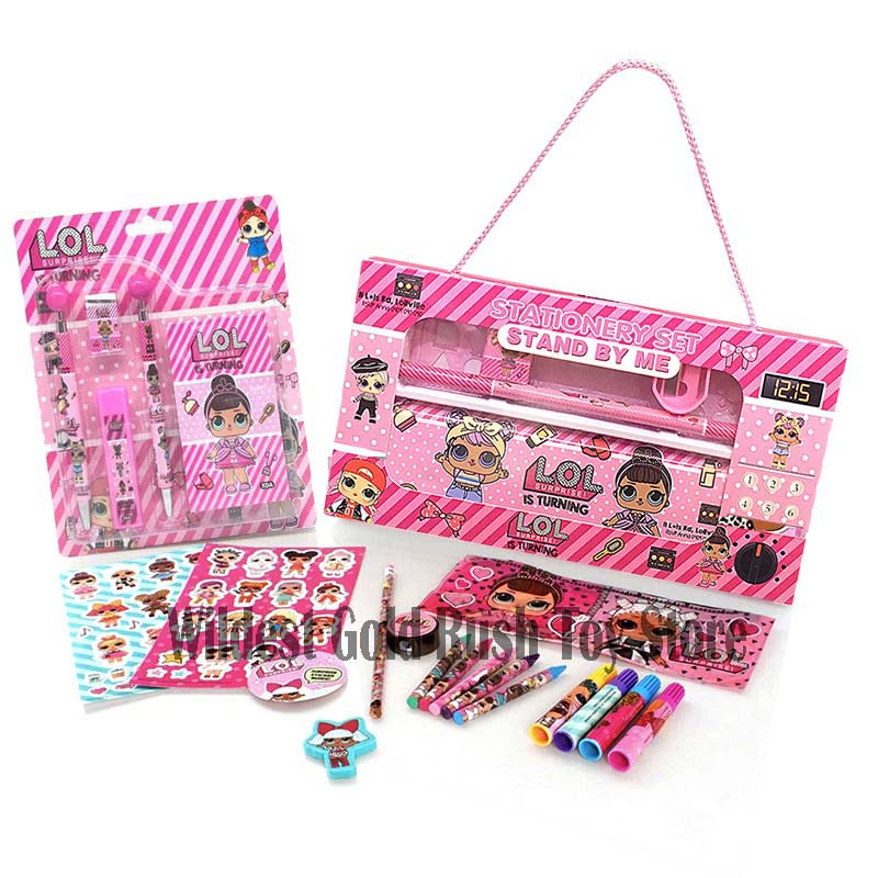 LOL dolls SURPRISE school supplies Cartoon Automatic Pencil Case Ball Pen Ruler Combination Gift Portable Stationery Set