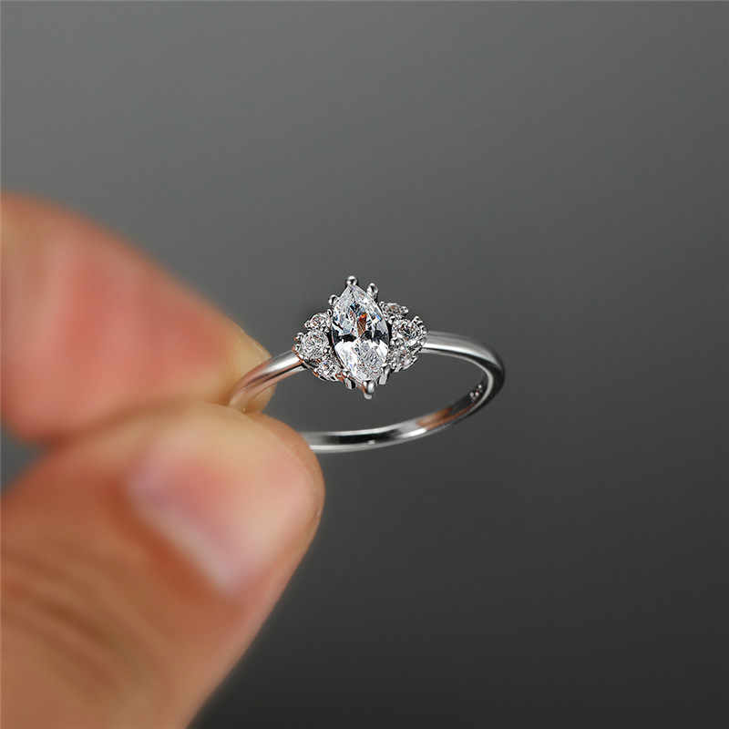 Cute Female Crystal Small Zircon Stone Ring 925 Silver Bridal Engagement Ring Vintage Wedding Jewelry Rings For Women