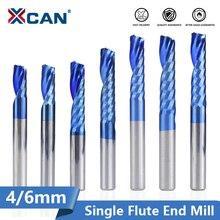 XCAN 1 adet 4/6mm şaft 1 flüt uç freze karbür End Mill mavi kaplama CNC Router Bit tek flüt uç freze uç frezesi kesici
