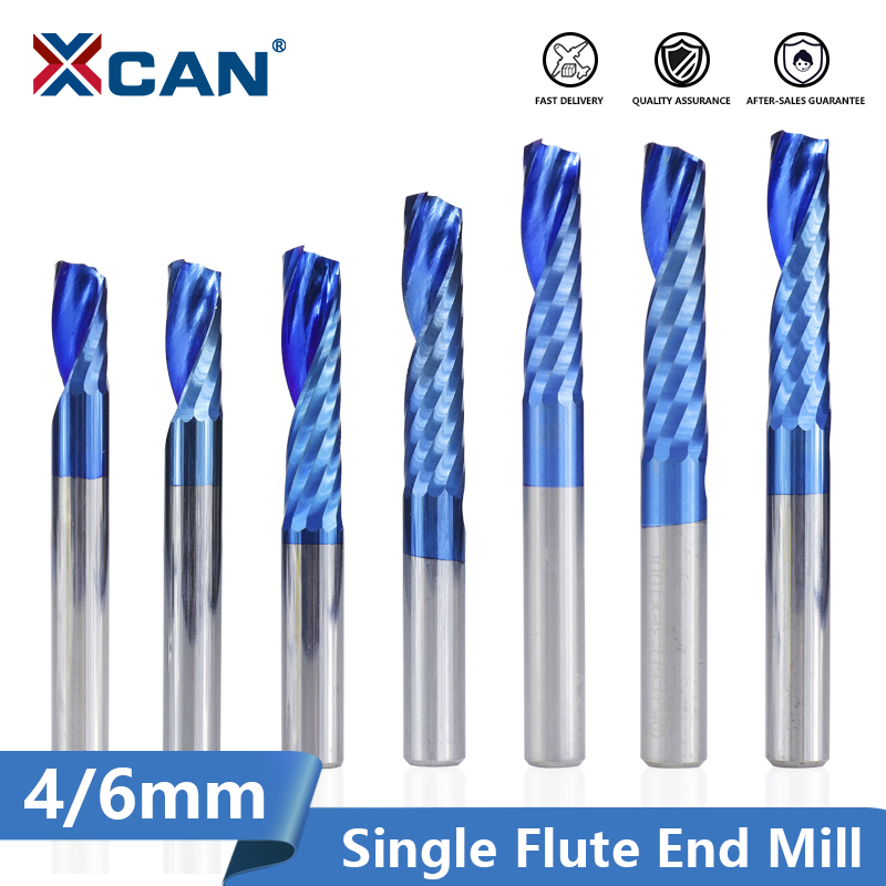 XCAN 1pc 4/6mm Shank 1 Flute End Mill Carbide End Mill Blue Coating CNC Router Bit Single Flute End Mill Milling Cutter