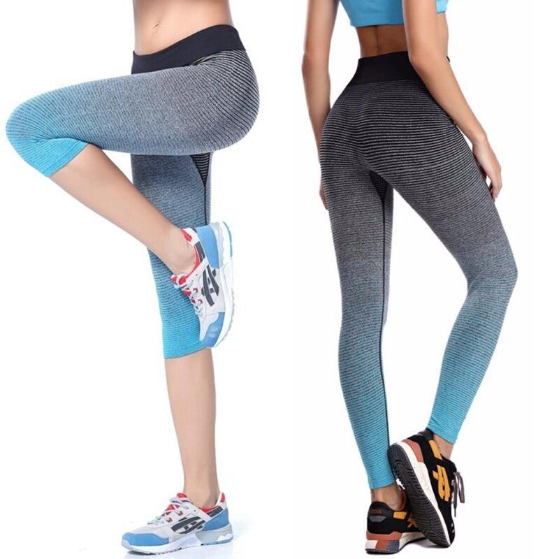 2017 Women Yoga Sport Leggings Summer Capri Pants For Running Fitness Gym Clothes Elastic Capris Gym Athletic Sports Leggings