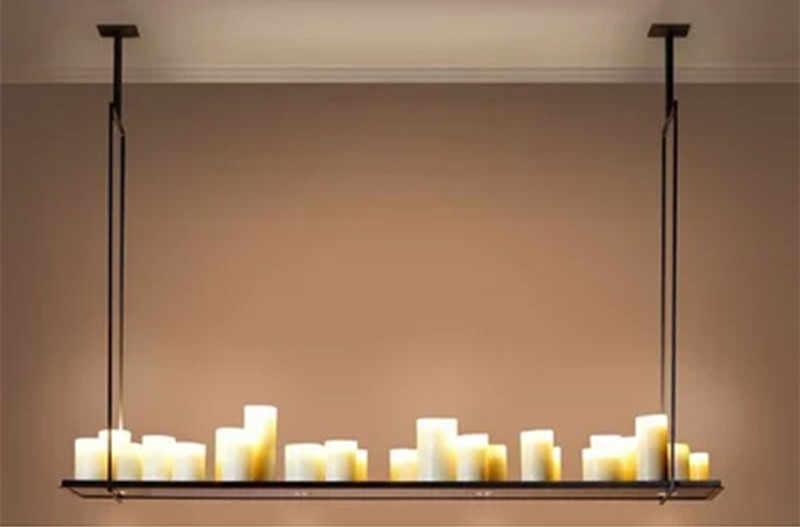 복제 케빈 Reilly 제단 펜 던 트 램프 LED 촛불 샹들리에 빈티지 빛 레트로 금속 고정 장치 원격 제어 서 스 펜 션 빛