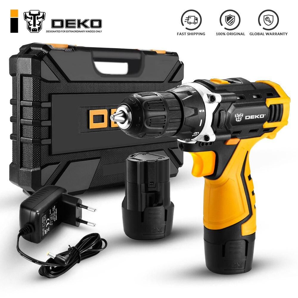 DEKO DCKCD12FU-Li дрель12В Recarregável + conjunto de ferramentas caso 63 Deko DKCD12FU-Li 1.5Ahx2 63 ferramentas + caso