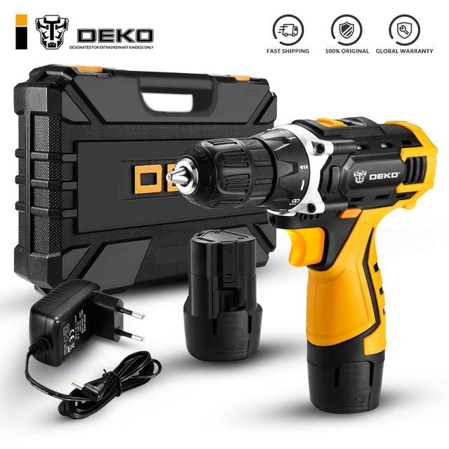 DEKO DCKCD12FU-Li Аккумуляторная дрель12В + набор 63 инструментов в кейсе Deko DKCD12FU-Li 1.5Ahx2 63 tools + case