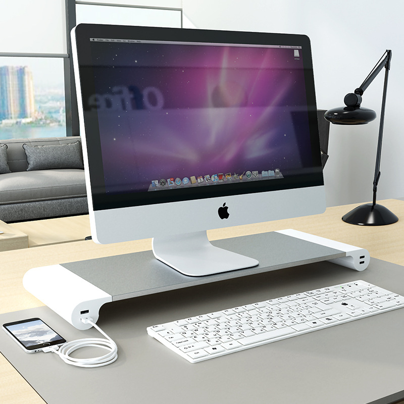Aluminum Alloy 4 USB Ports Desktop Stand Space Bar Computer Laptop Monitor Riser Dock Stand Riser For IMac MacBook EU US Plugs