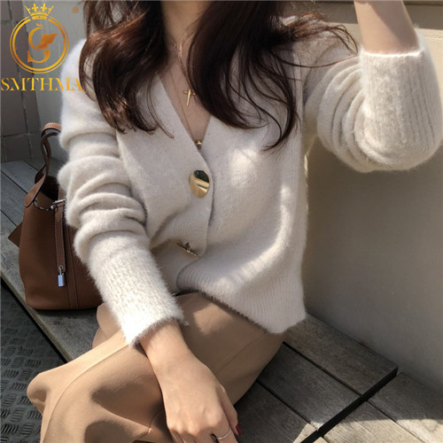 SMTHMA Autumn And Winter Korea Knitted Sweater Women Cardigans Mohair Thicken Sweater Jacket Long Sleeve Single Button Jumper