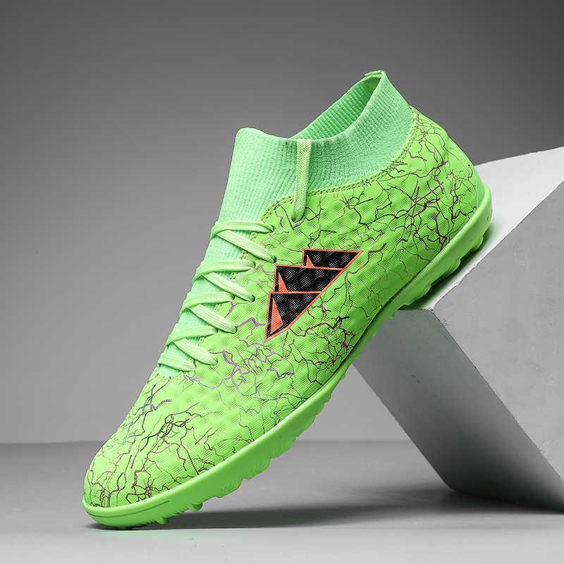Zhenzu Turf Indoor Pelatihan Football Boots Pria Sepak Bola Sepatu Anak-anak Cleat Tinggi Pergelangan Kaki Olahraga Sneakers Ukuran 35-44 Chaussure de Kaki