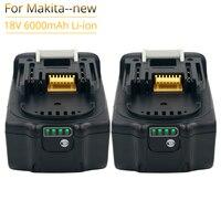 2pcs di Protezione Intelligente BL1860B 6000mAh Batteria per Makita 18V 6.0Ah BL1860 BL1850 Bl1830 Strumenti di Batteria Ricaricabile A LED luce
