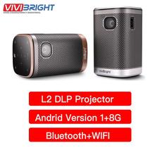Vivibright L2 DLP projektor 3D Mini Android 1G + 8G Beamer Bluetooth WIFI wsparcie 4K kino domowe 4500 lumenów 12000mAH bateria tanie tanio Automatyczna korekcja CN (pochodzenie) 4 3 16 9 854x480 dpi 40-300 cali Led light 2000 1 1 5 kg 1meter - 3meter