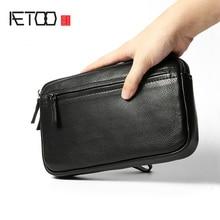 AETOO Retro men's handbag men's leather leather business fashion casual bag men'