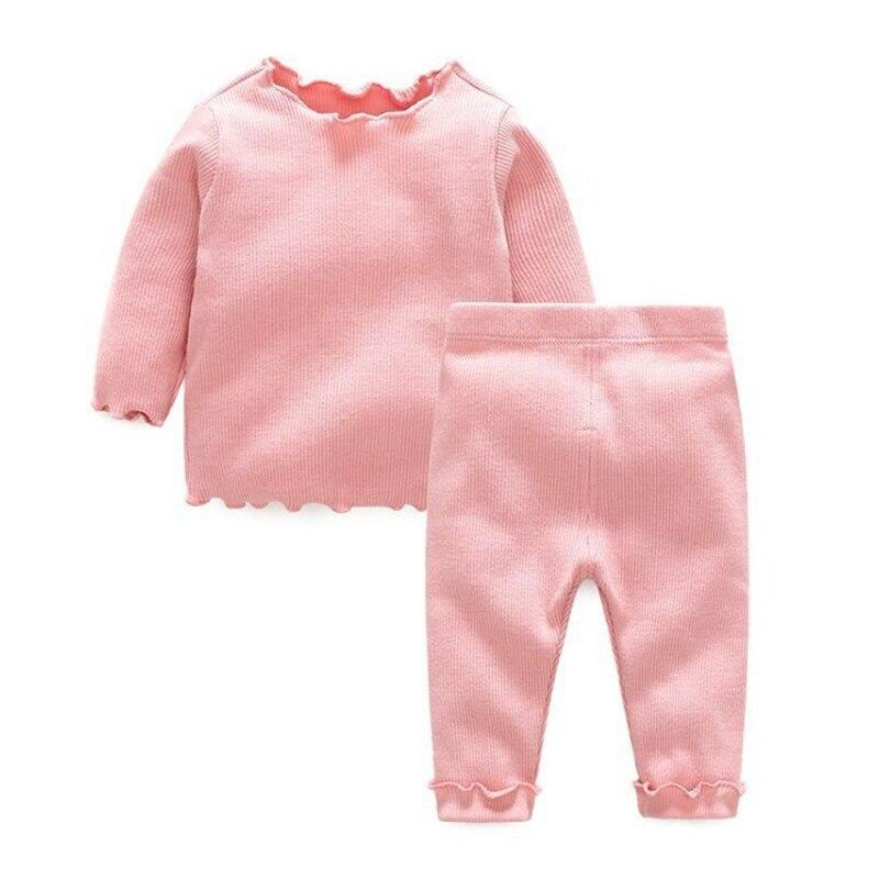 1Pc Baby Kids Girls Boys Long Sleeve Blouse+Pants Wave Lace Pajamas Cotton Pure Colour Sleepwear Set