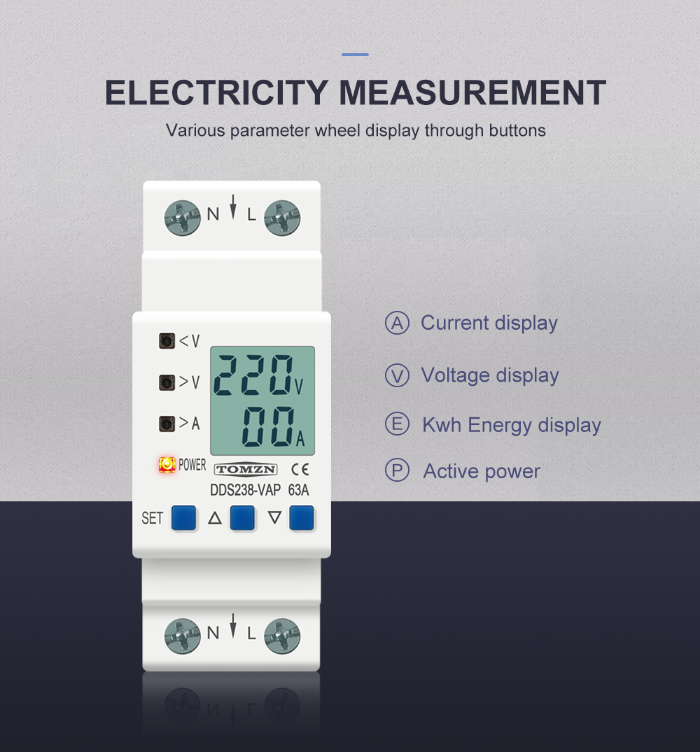 H604ad909b73a49998abe18c8a9f7381at - 63A 80A 110V 230V Din rail adjustable over under voltage protective device current limit protection Voltmeter ammeter Kwh