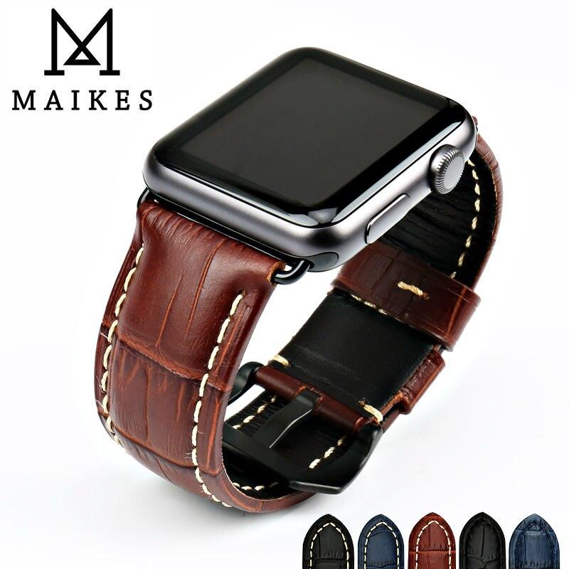MAIKES Horlogebanden Echt Koe Lederen Horloge Band Voor Apple Horloge Band 42mm 38mm Serie 4-1 Iwatch 4 44mm 40mm Horloge Armband