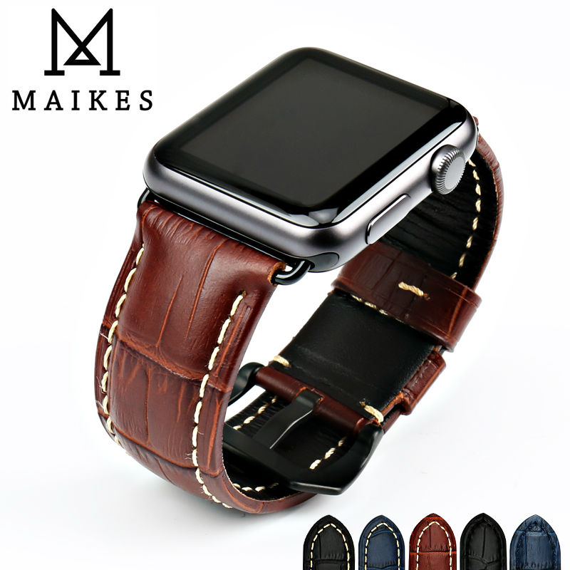 MAIKES watchbands tali kulit asli lembu menonton untuk Apple Watch Band 42mm 38mm siri 4-1 iwatch 4 44mm 40mm gelang jam tangan