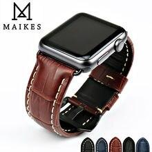 Maikes pulseiras de relógio de couro de vaca genuína pulseira de relógio para apple faixa de relógio 42mm 38mm série 4 1 iwatch 4 44mm 40mm pulseira de relógio