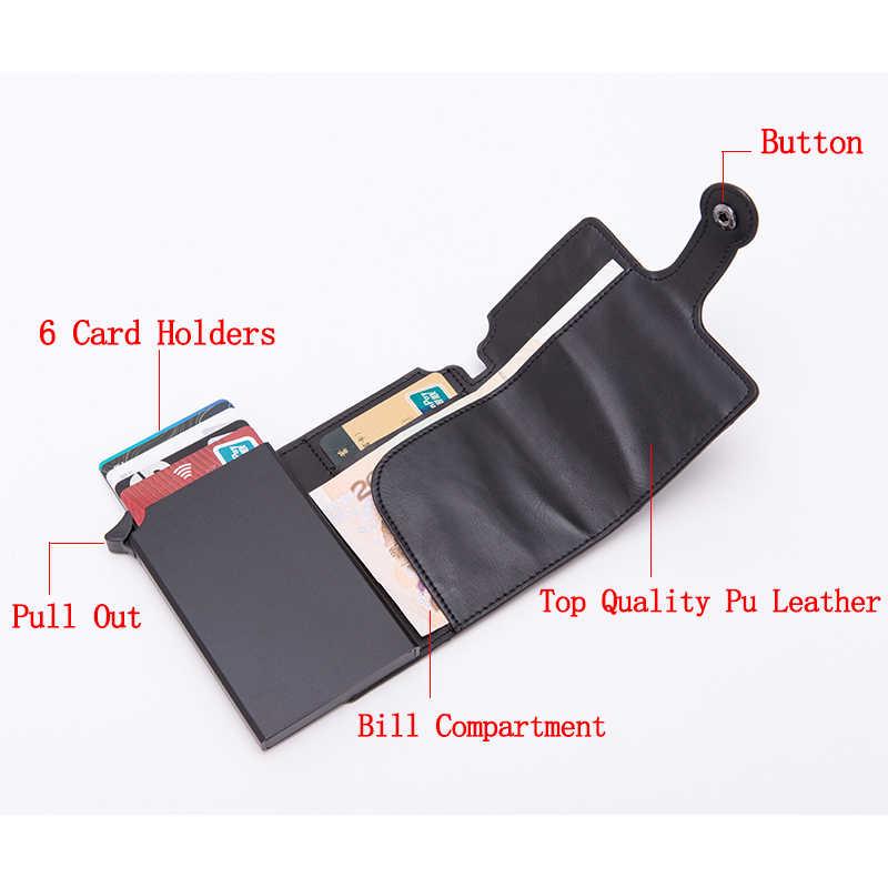 Mężczyźni RFID przycisk etui na karty kredytowe wysokiej jakości Metal aluminium Auto Pop-up RFID blokowanie etui na dowód czarny portfel moneta kiesa