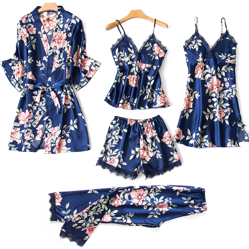 Women's Pajamas 5 Pieces Sets Silk Satin Floral Print Pyjama Set Sexy Pajamas With Pad Lace Night Suits Sleepwear Home Clothes