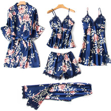 Women's Pajamas 5 Pieces Sets Silk Satin Floral Print Pyjama