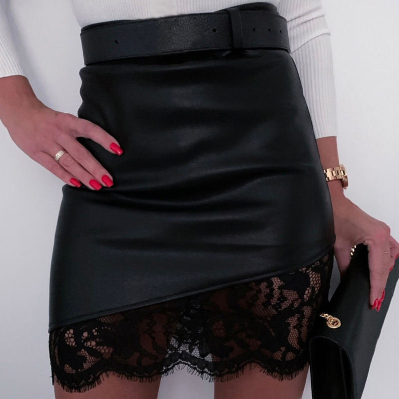 Lossky Black Pu Mini Skirt Sexy Women Short Lace Stitching Zipper Fall Spring Faux Leather Bodycon Asymmetrical Clothes Elegant