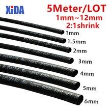 Термоусадочные трубки 5 м/лот, черные, 1 мм, 1,5 мм, 2 мм, 2,5 мм, 3 мм, 3,5 мм, 4 мм, 5 мм, 6 мм, 8 мм, 10 мм