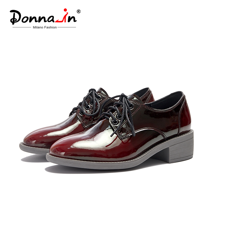 Donna-in Mixed Color Genuine Leather Oxford Shoes For Women Heel Lace Up Womens Shoes Spring Mature Career Lady British Style