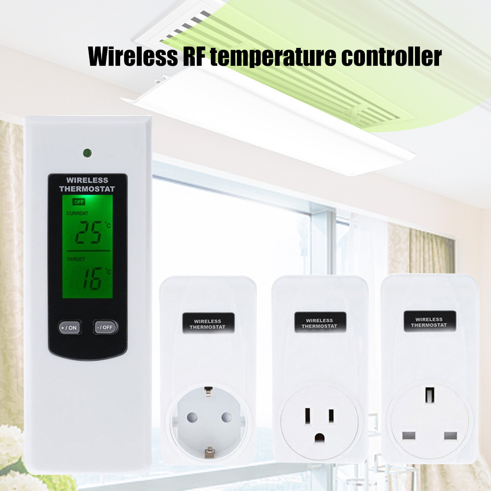 Wireless Thermostat RF Plug Digital Infrared Heating Temperature Sensor Controller GHS99
