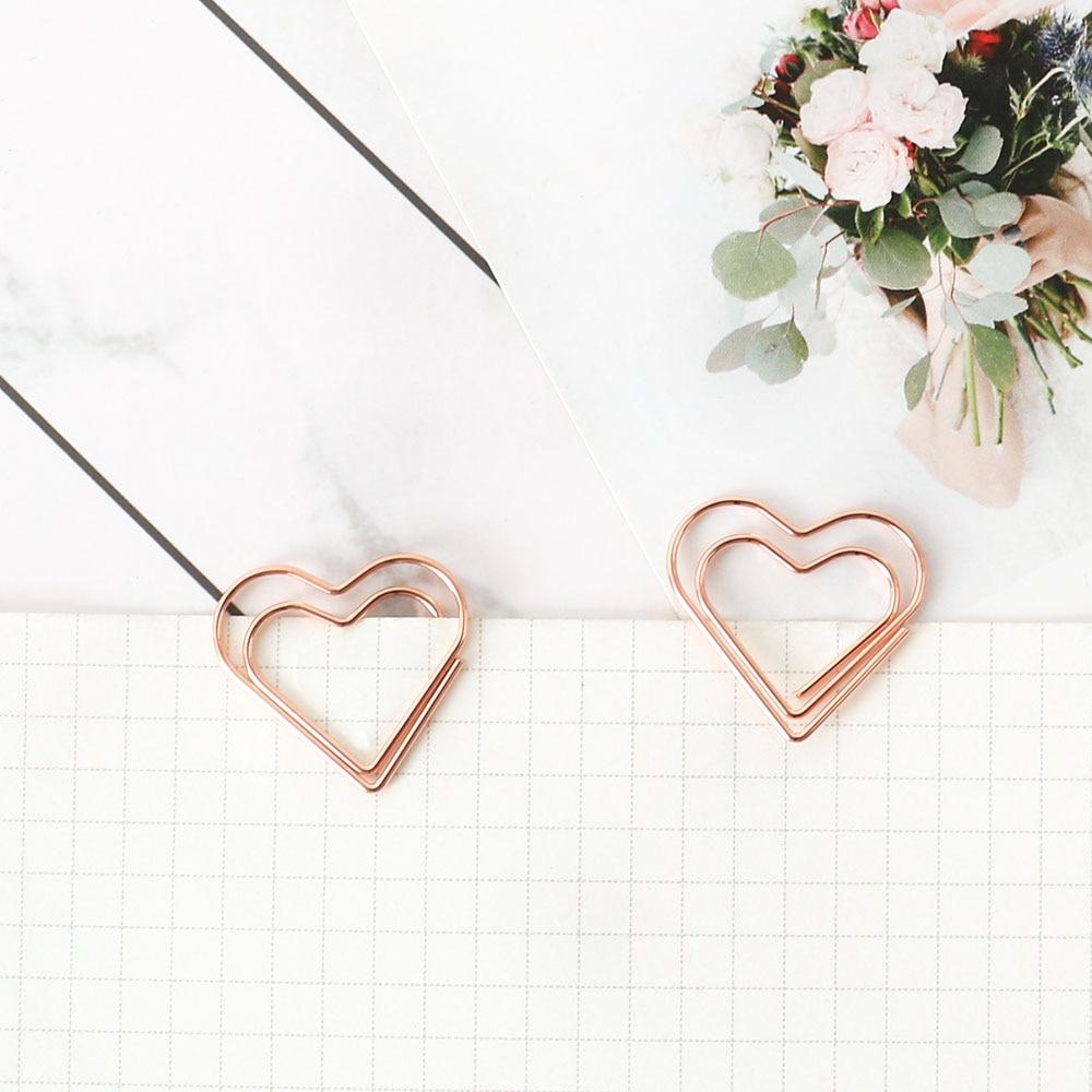TUTU 30pcs/set heart Bookmark Metal Paper Clip Decor Rose Gold Colorfur Book Note Decoration Binder Clip Stationery H0405 2