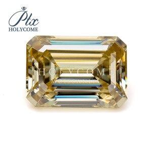 Gros haute qualité jaune émeraude coupe 6.5*5mm pierres moissanite en vrac pour la fabrication de bijoux