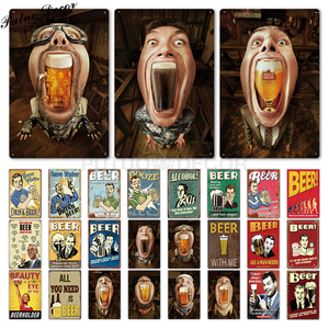 Funny Tin Sign Beer Metal Sign Plaque Metal Vintage Pub Iron Painting Wall Decor for Bar Pub Club Man Cave Metal Posters(China)