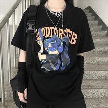 Japan Cotton Loose Tshirt Streerwear Japan Cartoon Tops Summer Cute Tees Causal Harajuku Oversized Punk Youth T Shirts Males