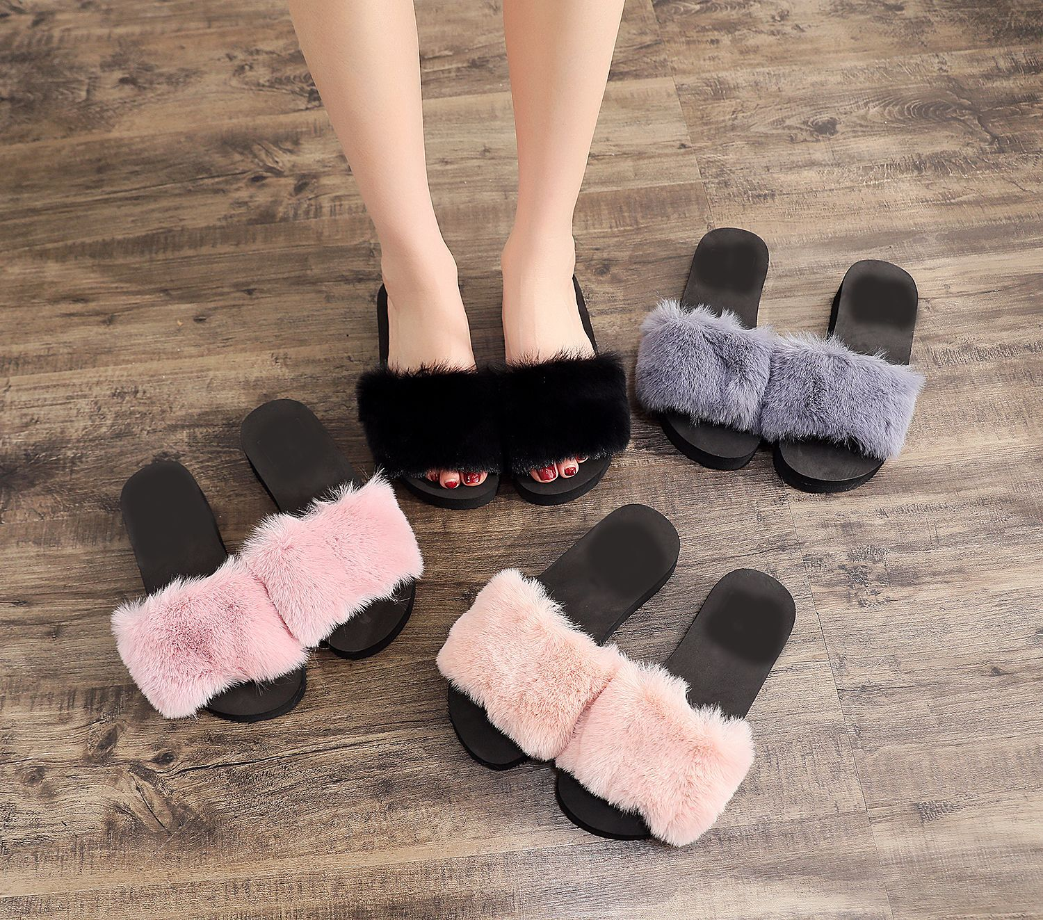 Maggie's Walker Chinese Slippers Fuzzy Slippers Chinelos Sliders Shoes New Women Spring Plush Slippers Fluffy Slipper Plus Size
