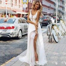 Платье свадебное из тюля с высоким разрезом без рукавов