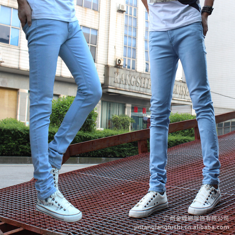 Spring And Autumn Fashion Man Sky Blue Slim Women's Jeans Men's Elasticity Slimming Skinny Pants Men's Pencil Pants Men's