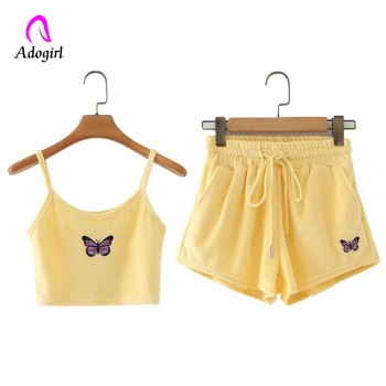 Super Promo C4ec7e Butterfly Embroidery 2 Pieces Sets Women Velvet Summer Fashion Club Outfits Sexy Spaghetti Strap Crop Tops Shorts Matching Sets Cicig Co