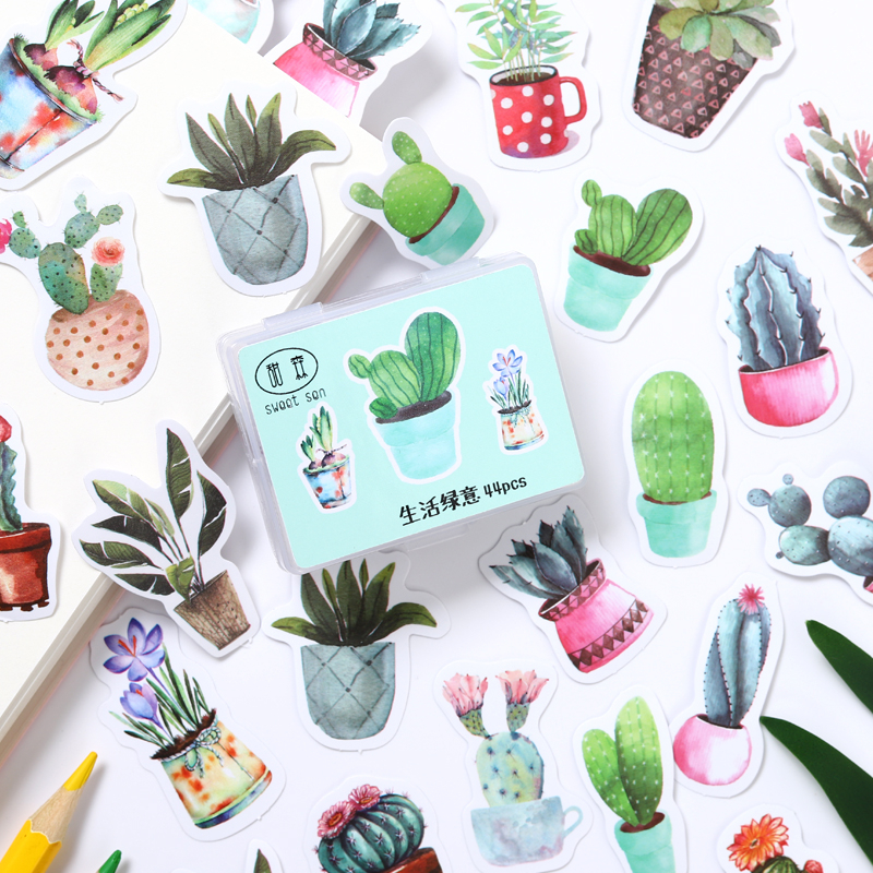Green Cactus Boxed Sticky Stickers Decoracion Scrapbooking DIY Office Stationery School Supplies 44Pcs/Pack