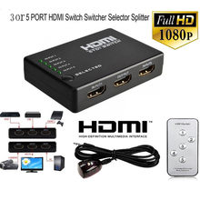 HDMI-kompatibel Splitter 3/5 Port Umschalter Port 1080P 3 Eingang 1 Ausgang 4K Adapter für XBOX 360 PS3 PS4 Android HDTV