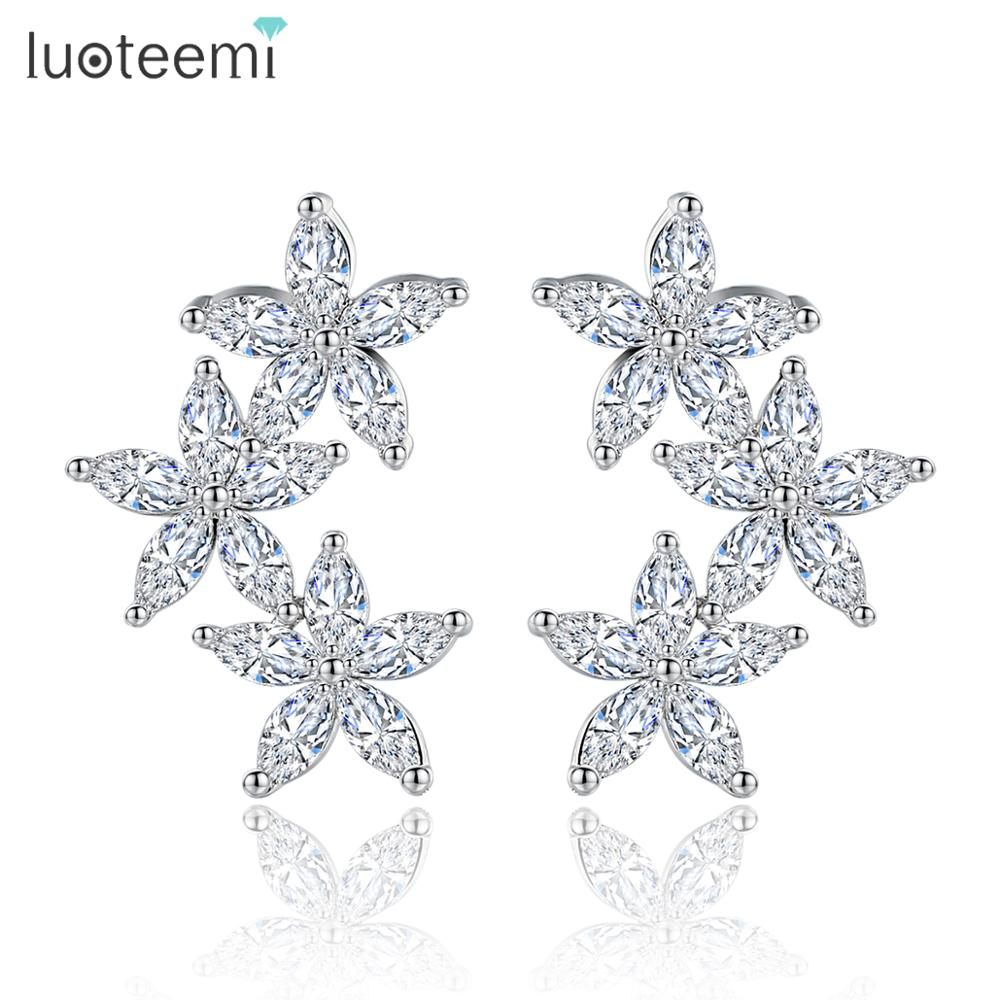 LUOTEEMI New Like Flowers Blossoming Stud Earrings Cubic Zircon Girl Brincos White Gold-Color Jewelry For Women Wedding Gift