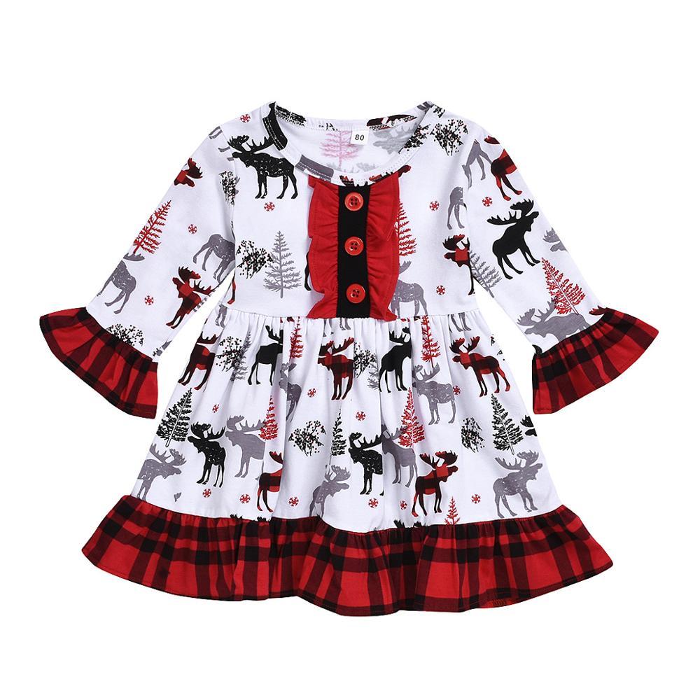 Baby mädchen weihnachten kleid mädchen weihnachten baum hirsche print kleid kinder mädchen nette boutique kleid