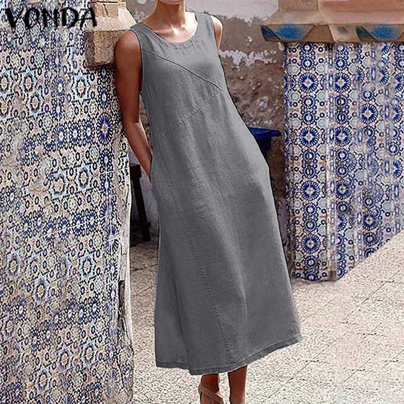 VONDA Women Sleeveless Cotton Dress Casual Holiday Long Dresses Party Dress Tank Tops Sundress Bohemian Vestidos Plus Size Robe