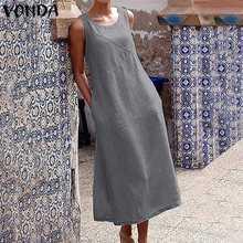 VONDA Women Sleeveless Cotton Dress Casual Holiday Long Dresses